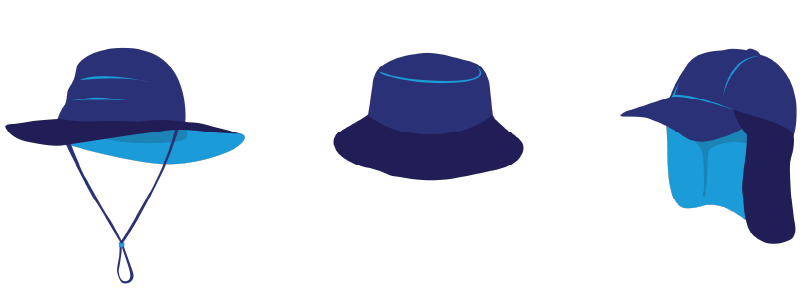 A broad-brimmed hat, a bucket hat and a legionnaire hat