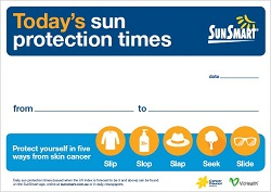 Sun protection times sign